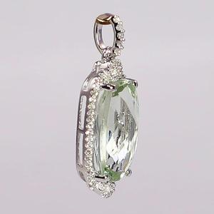 White Gold Green Amethystand Diamond Pendant
