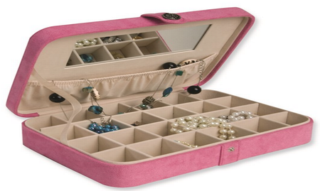 Pink Suede 24-Section Earring Case